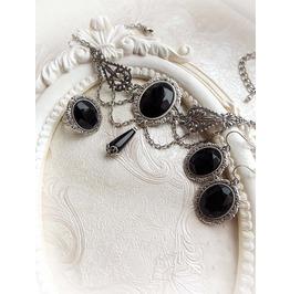 Black Jewel Choker Crystal Earrings Jewelry Set Gothic Victorian Jewelry