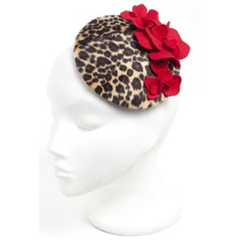 Faux Leopard Red Floral Fascinator Hat