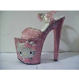 Custom Made Crystal Cat Platform Sandal
