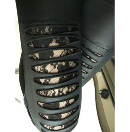 Black Leather Looking Slashed Leggings