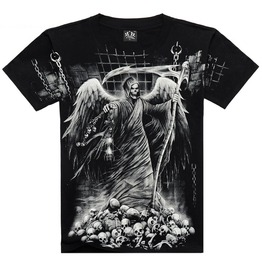 Men's Soul Reaper Printed Short Sleeve Black Summer T Shirt