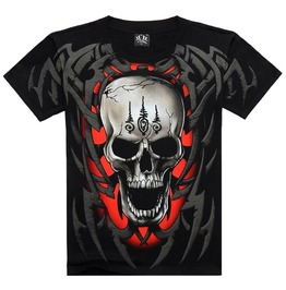 Men's Tattooed Skull Printed Short Sleeve Black Summer T Shirt