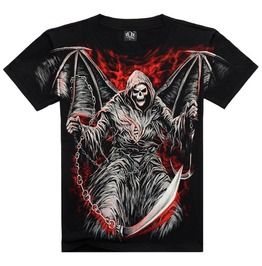 Men's Soul Reaper Wings Printed Short Sleeve Black Summer T Shirt