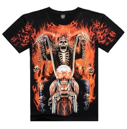 Men's Flame Skeleton Biker Printed Short Sleeve Black Summer T Shirt