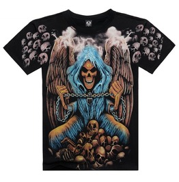 Men's Skeleton Angel Printed Short Sleeve Black Summer T Shirt