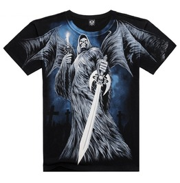 Men's Soul Reaper Sword Printed Short Sleeve Black Summer T Shirt
