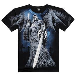 Men's Soul Reaper Sword Printed Short Sleeve Black Summer T Shirt