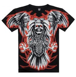 Men's Indians Eagle Skeleton Printed Short Sleeve Black Summer T Shirt