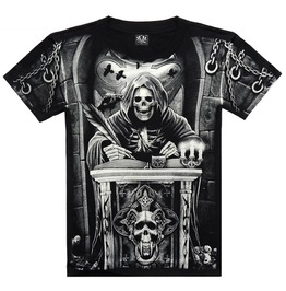 Men's Skeleton Religious Symbols Printed Black T Shirt