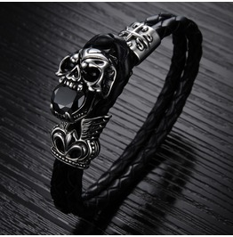 Men's Punk Stainless Steel/Leather Skull Bracelet