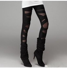 Black Poly & Mesh Combostretch Leggings A11 Qs Scroll Dwn & Read B4 U Order