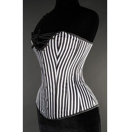 Steel Boned Black White Striped Burlesque Cleavage Victorian Pirate Corset
