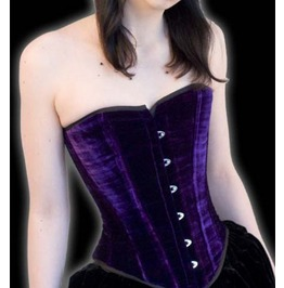 Steel Boned Purple Velvet Gothic Overbust Corset $9 To Ship Anywhere