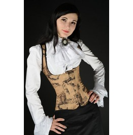 Steel Boned Steampunk Traveler Map Print Shoulder Corset Lace Up Back