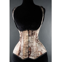 Steel Boned Steampunk Leonardo Invention Print Shoulder Corset