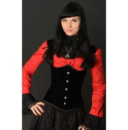 Steel Boned Black Velvet Underbust Shoulder Corset $9 To Ship Worldwide