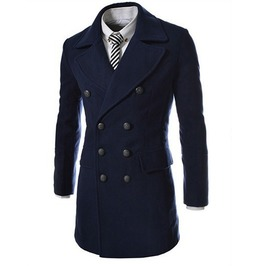Men's Black,Gray,Navy Double Breasted Coat
