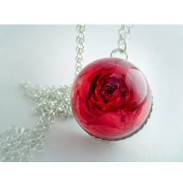 Real Red Rose Necklace, Real Flower Pendant , Botanical Jewelry