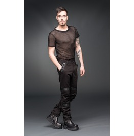Mens Black Gothic Industrial Punk Pants Faux Leather Trim Rocker Trousers