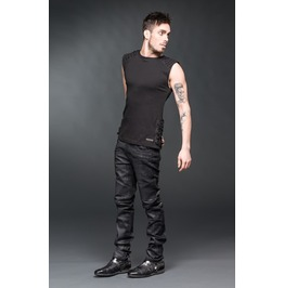 Mens Black Gothic Industrial Trousers Used Look Punk Rocker Pants