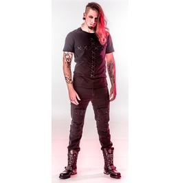 Mens Black Gothic Industrial Used Look Punk Rocker Pants Cheap Shipping $6