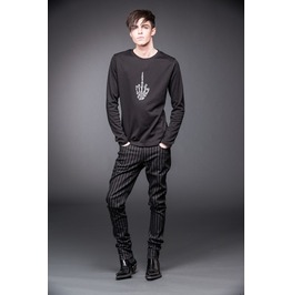 Black Grey Striped Gothic Industrial Skinny Fit Punk Pants Rocker Trousers
