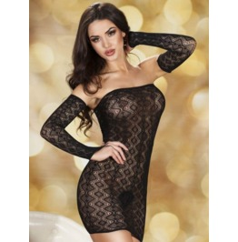 Sexy Crocheted Lace Lingerie Dress Detachable Sleeves