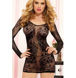 Sexy Crocheted Lace Floral Long Sleeves Lingerie Dress