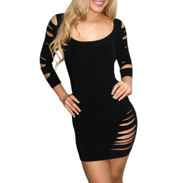 Sexy Cut Three Quarter Sleeves Lingerie Dress