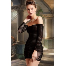 Sexy Shoulder Fish Net Lingerie Dress