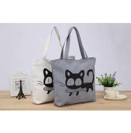 Shoulder Handbag Featuring Cute Kitty Print Lt. Grey Wht H14739w Tt
