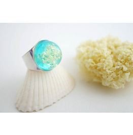 Sea Sponge Ring Aqua Ring Resin Mermaid Ocean Seaweed Jewelry