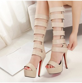 Nude Sexy Gladiator High Heel Tall Sandals