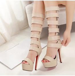 Nude Sexy Gladiator High Heel Tall Sandals