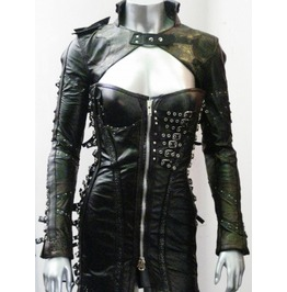 Post Apocalyptic Black Leather Warrior Buckled Dress And Bolero Full Set