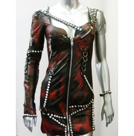 Post Apocalyptic Black And Red Distressed Leather Punk Dress