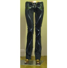 Gothic Slash Applique Black Vinyl Pleather Pants Punk Rock