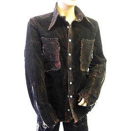 Rocker Long Sleeve Black Rust Corduroy Jacket Shirt Funky Collar
