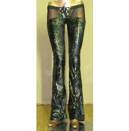 Italiano Couture Reptile Print Metallic Chaps Pants