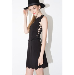 Unique Lace Tie Wave Trim Short Black Dress