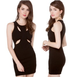 Slim Fit Sleeveless Cut Chest Black Dress