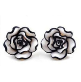 Enchanting Black & White Rose Design Earrings