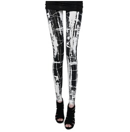 Women's Black/White Punk/Goth Leggings, Goth Bottoms, Goth Pants