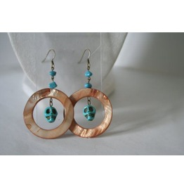 Dangling Earrings Turquoise Skulls Shell Hoops
