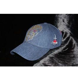 3edba324e57 Blue Denim Baseball Cap Sugar Skull