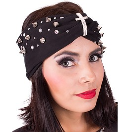 Black And Spiked Turban Headband, Spiked Turban, Gothic Turban Headband