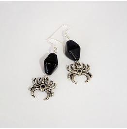 Handmade Gothic Black Spider Earrings
