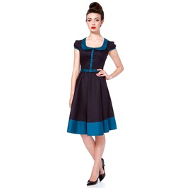 Voodoo Vixen Lina Navy Retro Flare Dress