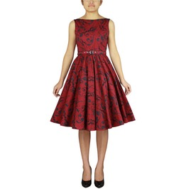 Print Rockabilly Belted Swing Dress