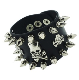 Hardcore! Black Leather Skull Head Wristband Raised Pointed Studs
